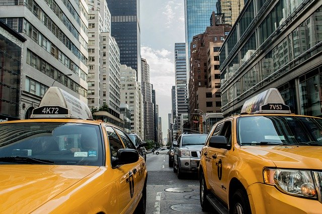 A line of taxis stretched across a New York street