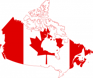 A map of Canada with the Canadian flag all over the country.