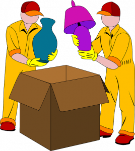 Two people packing stuff