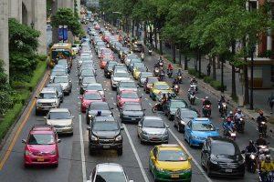 A traffic jam on the street.