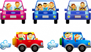 A drawing of families in cars on the road