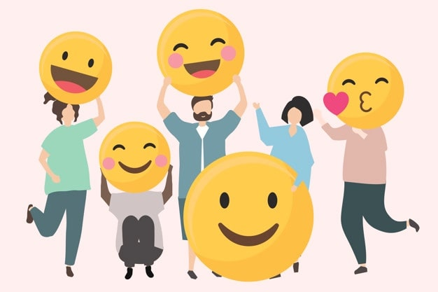 people with funny happy emojis